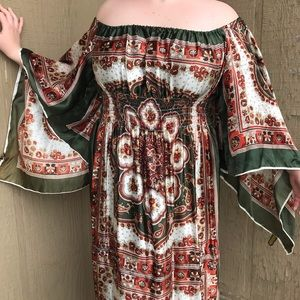 Vintage Scarf Long Maxi Dress